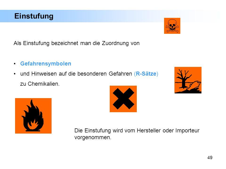 49 Einstufung Als Einstufung bezeichnet man die Zuordnung von Gefahrensymbolen und Hinweisen auf die besonderen Gefahren (R-Sätze) zu Chemikalien. Die