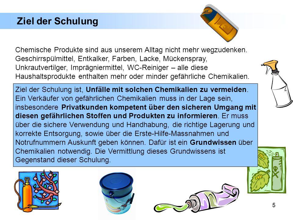 5 Ziel der Schulung Chemische Produkte sind aus unserem Alltag nicht mehr wegzudenken. Geschirrspülmittel, Entkalker, Farben, Lacke, Mückenspray, Unkr
