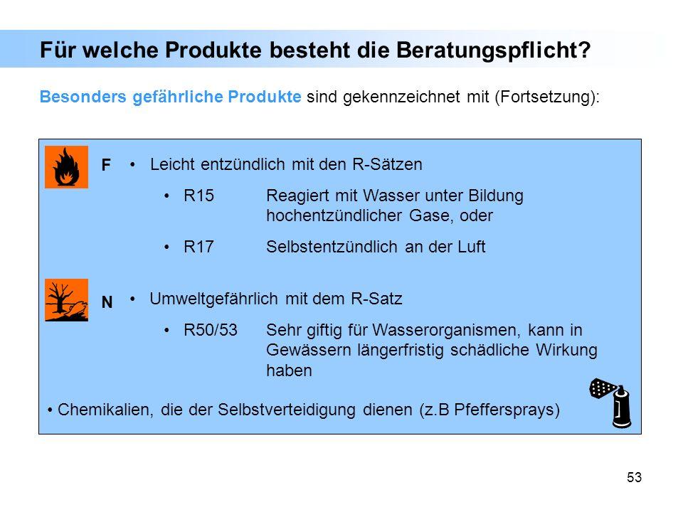 53 Besonders gefährliche Produkte sind gekennzeichnet mit (Fortsetzung): Für welche Produkte besteht die Beratungspflicht? Leicht entzündlich mit den