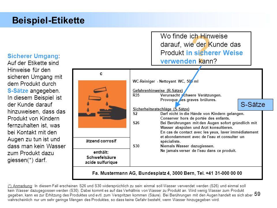 59 Beispiel-Etikette Fa. Mustermann AG, Bundesplatz 4, 3000 Bern, Tel. +41 31-000 00 00 enthält: Schwefelsäure acide sulfurique ätzend corrosif WC-Rei