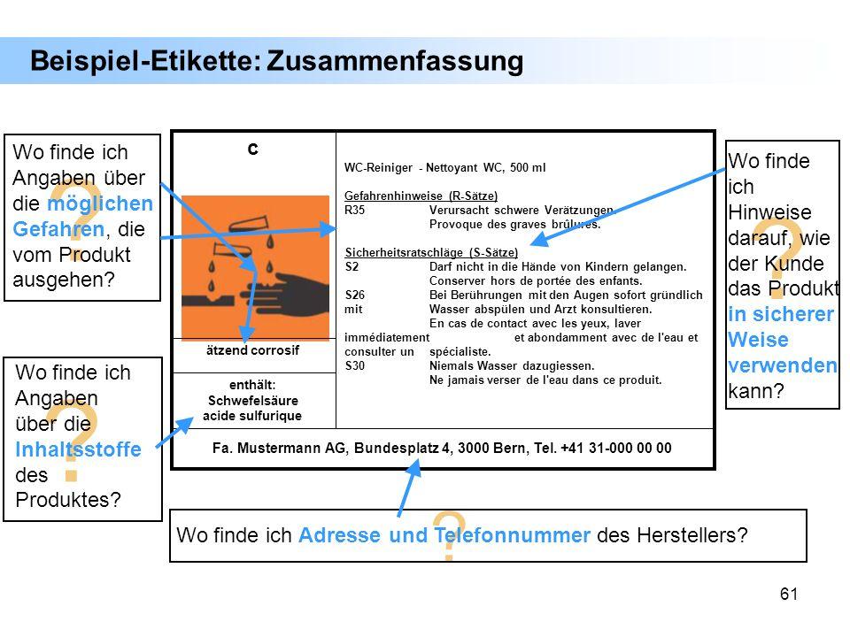 61 Beispiel-Etikette: Zusammenfassung Fa. Mustermann AG, Bundesplatz 4, 3000 Bern, Tel. +41 31-000 00 00 enthält: Schwefelsäure acide sulfurique ätzen