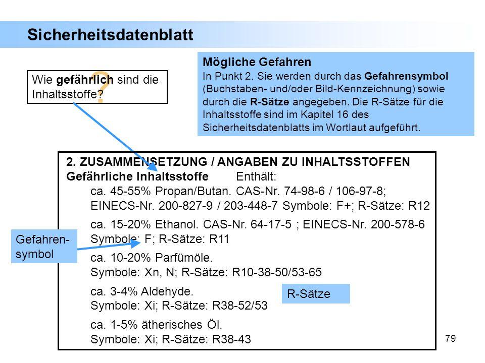 79 2. ZUSAMMENSETZUNG / ANGABEN ZU INHALTSSTOFFEN Gefährliche InhaltsstoffeEnthält: ca. 45-55% Propan/Butan.CAS-Nr. 74-98-6 / 106-97-8; EINECS-Nr. 200