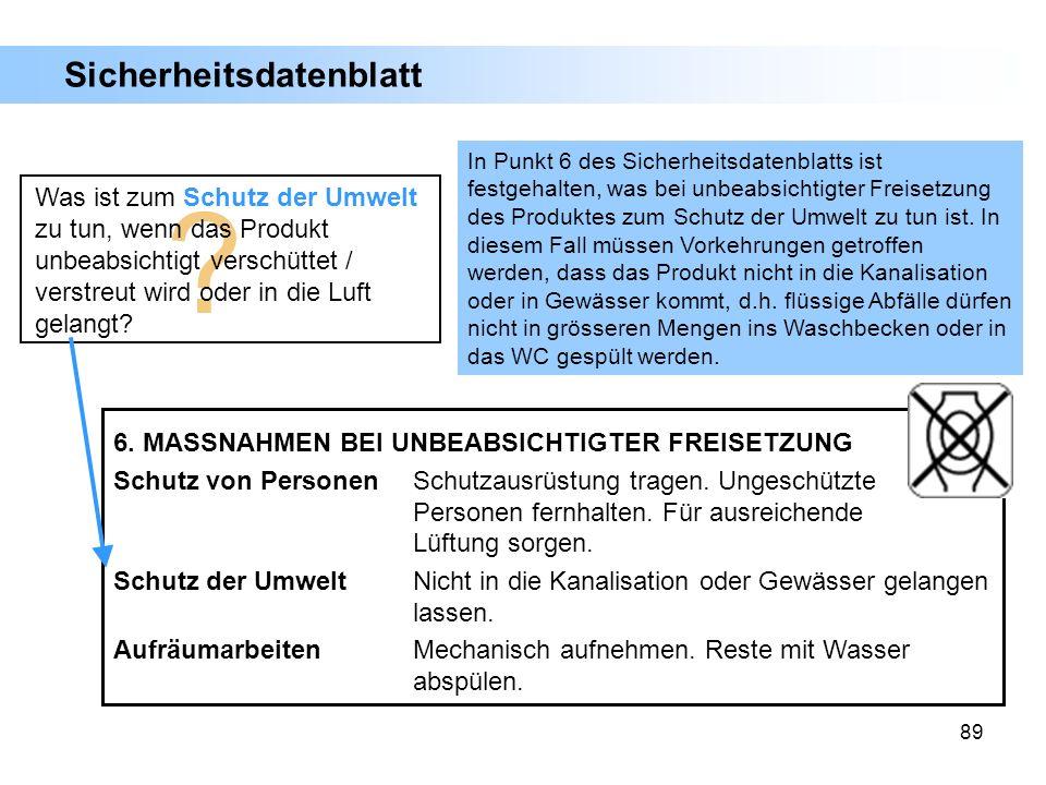 89 6. MASSNAHMEN BEI UNBEABSICHTIGTER FREISETZUNG Schutz von PersonenSchutzausrüstung tragen. Ungeschützte Personen fernhalten. Für ausreichende Lüftu
