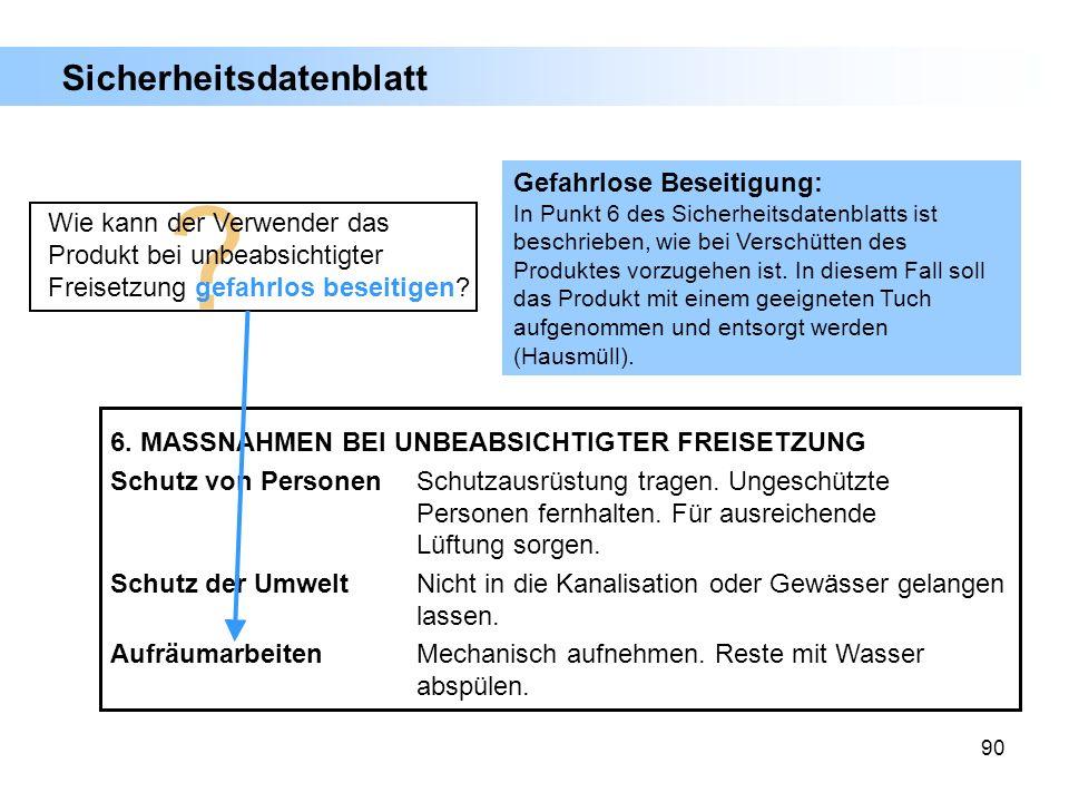 90 Sicherheitsdatenblatt 6. MASSNAHMEN BEI UNBEABSICHTIGTER FREISETZUNG Schutz von PersonenSchutzausrüstung tragen. Ungeschützte Personen fernhalten.