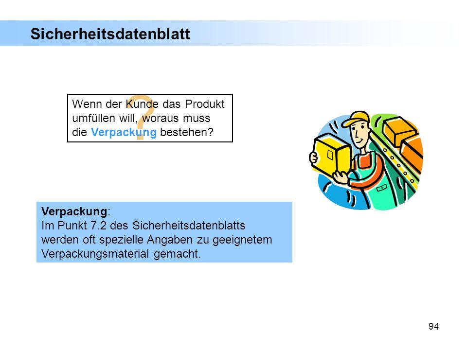 94 Verpackung: Im Punkt 7.2 des Sicherheitsdatenblatts werden oft spezielle Angaben zu geeignetem Verpackungsmaterial gemacht. ? Wenn der Kunde das Pr