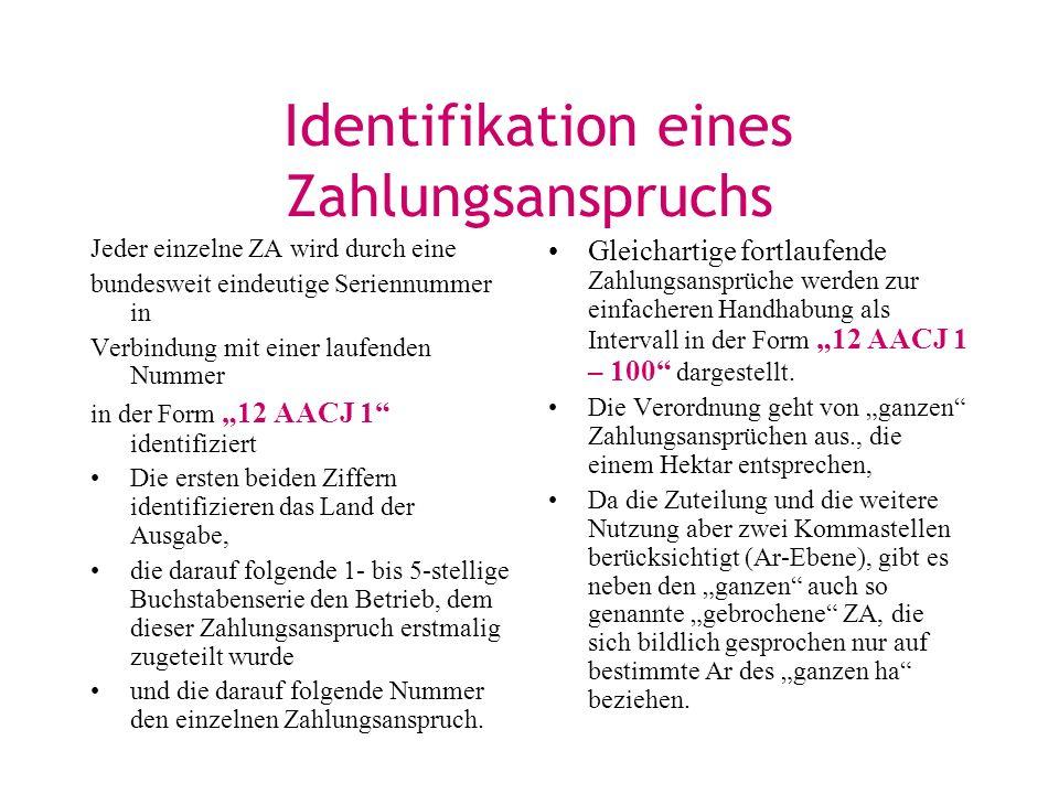 Identifikation eines Zahlungsanspruchs Jeder einzelne ZA wird durch eine bundesweit eindeutige Seriennummer in Verbindung mit einer laufenden Nummer i