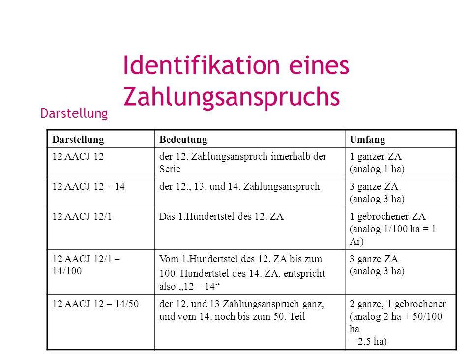 Identifikation eines Zahlungsanspruchs Darstellung BedeutungUmfang 12 AACJ 12der 12. Zahlungsanspruch innerhalb der Serie 1 ganzer ZA (analog 1 ha) 12