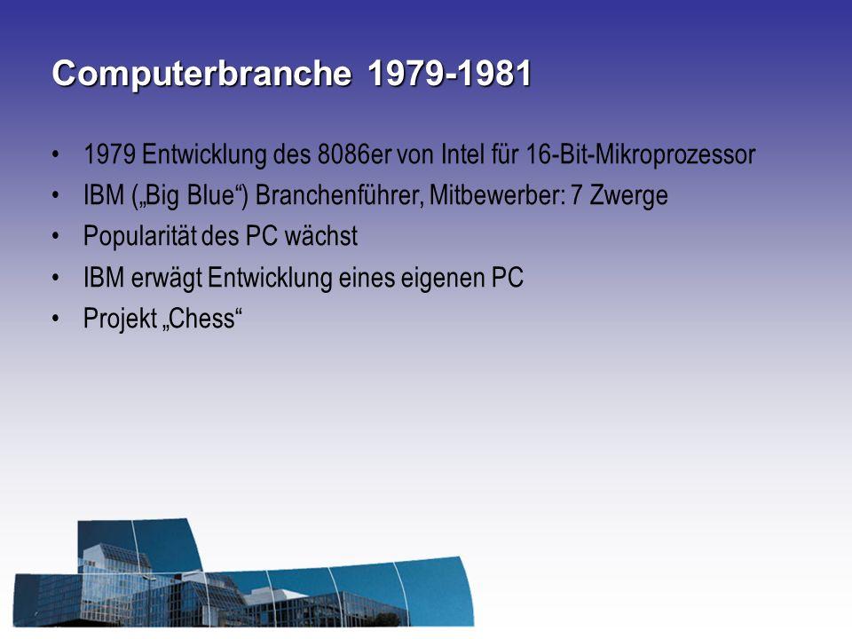 Computerbranche 1979-1981 1979 Entwicklung des 8086er von Intel für 16-Bit-Mikroprozessor IBM (Big Blue) Branchenführer, Mitbewerber: 7 Zwerge Popularität des PC wächst IBM erwägt Entwicklung eines eigenen PC Projekt Chess