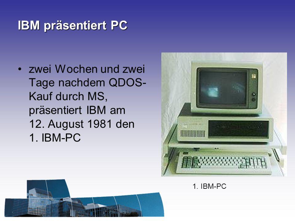 IBM präsentiert PC zwei Wochen und zwei Tage nachdem QDOS- Kauf durch MS, präsentiert IBM am 12. August 1981 den 1. IBM-PC 1. IBM-PC