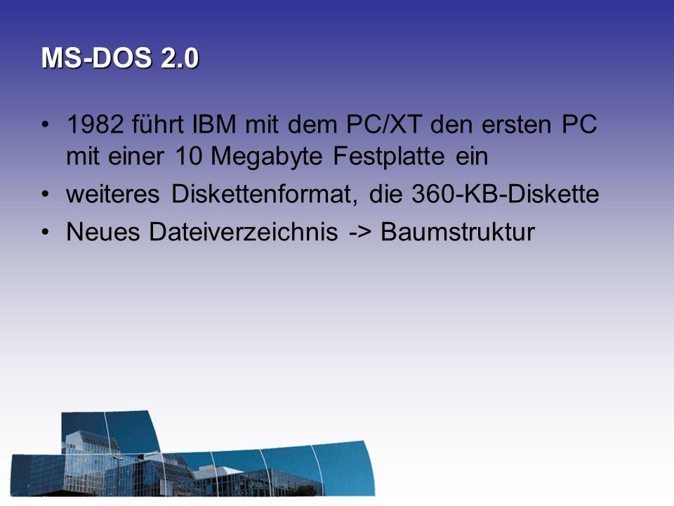 MS-DOS 3.2 Netzwerkfähigkeit 3,5 Zoll Diskette Festplatten mit einer Kapazität von mehr als 10 MB werden unterstützt