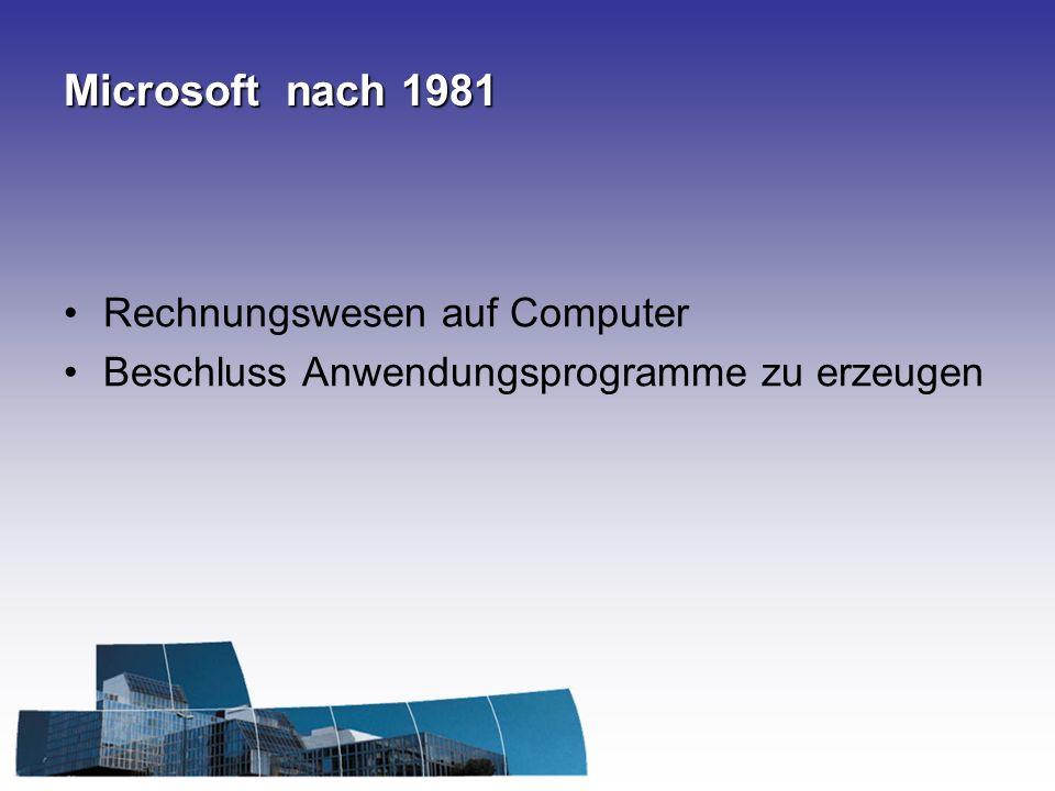 Microsoft - Tabellenkalkulation Entschluss zur Entwicklung eines Tabellenkalkulationsprogramm (Ende 1981) VisiCalc – lief nicht auf allen Systemen Frühjahr 1982 - IBM erhält MS Multiplan für PC MS wollte mit groß angelegtem Marketing Nr.1 mit Multiplan werden Lotus 1-2-3 kam wenige Monate an die Spitze