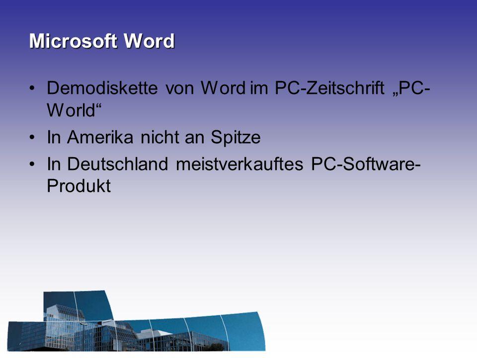 Microsoft Word Demodiskette von Word im PC-Zeitschrift PC- World In Amerika nicht an Spitze In Deutschland meistverkauftes PC-Software- Produkt