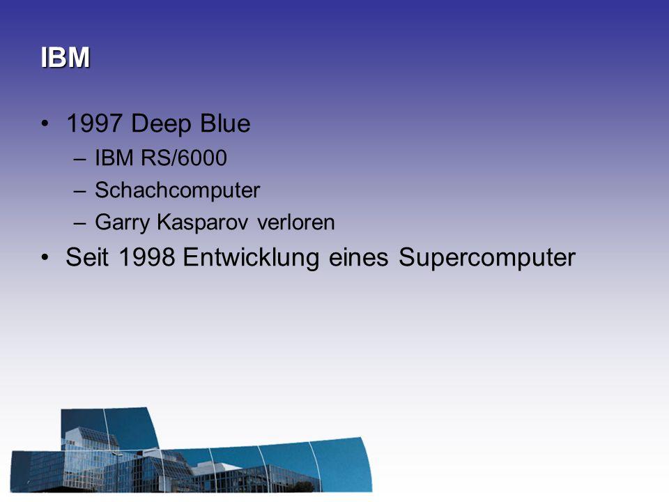 IBM 1997 Deep Blue –IBM RS/6000 –Schachcomputer –Garry Kasparov verloren Seit 1998 Entwicklung eines Supercomputer