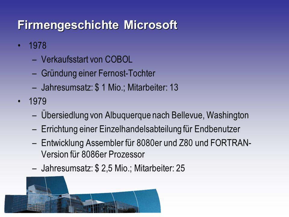 Firmengeschichte Microsoft 1978 –Verkaufsstart von COBOL –Gründung einer Fernost-Tochter –Jahresumsatz: $ 1 Mio.; Mitarbeiter: 13 1979 –Übersiedlung von Albuquerque nach Bellevue, Washington –Errichtung einer Einzelhandelsabteilung für Endbenutzer –Entwicklung Assembler für 8080er und Z80 und FORTRAN- Version für 8086er Prozessor –Jahresumsatz: $ 2,5 Mio.; Mitarbeiter: 25