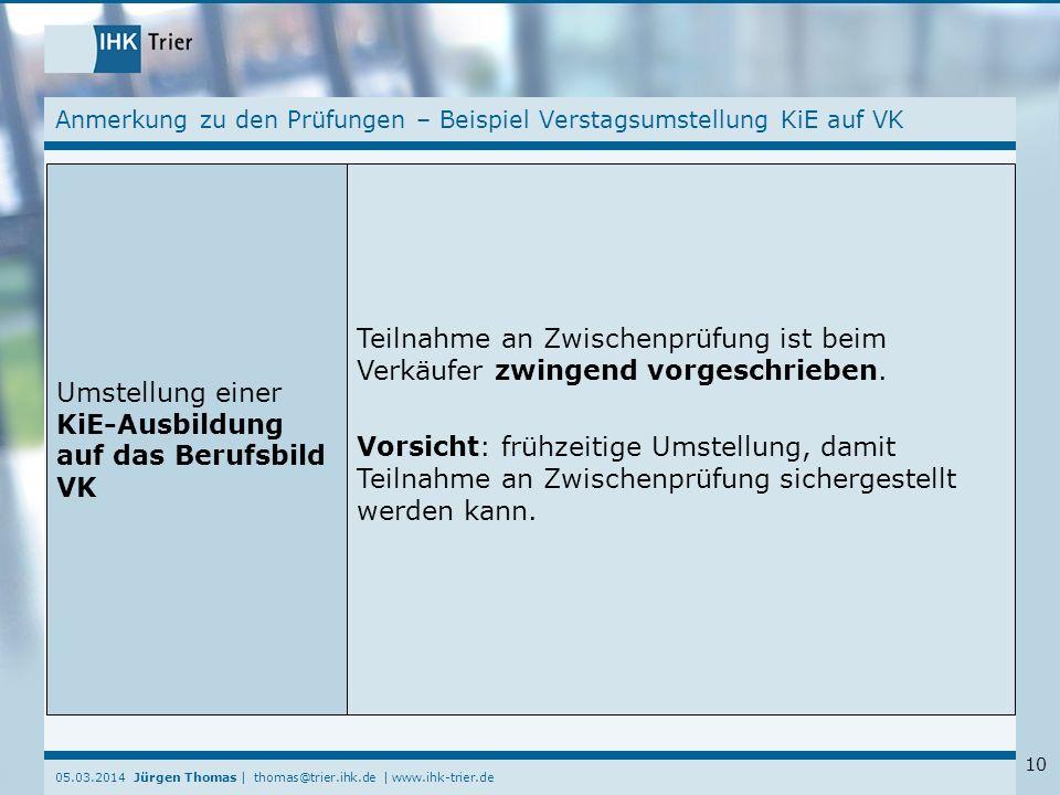 05.03.2014 Jürgen Thomas | thomas@trier.ihk.de | www.ihk-trier.de 10 Anmerkung zu den Prüfungen – Beispiel Verstagsumstellung KiE auf VK Umstellung ei