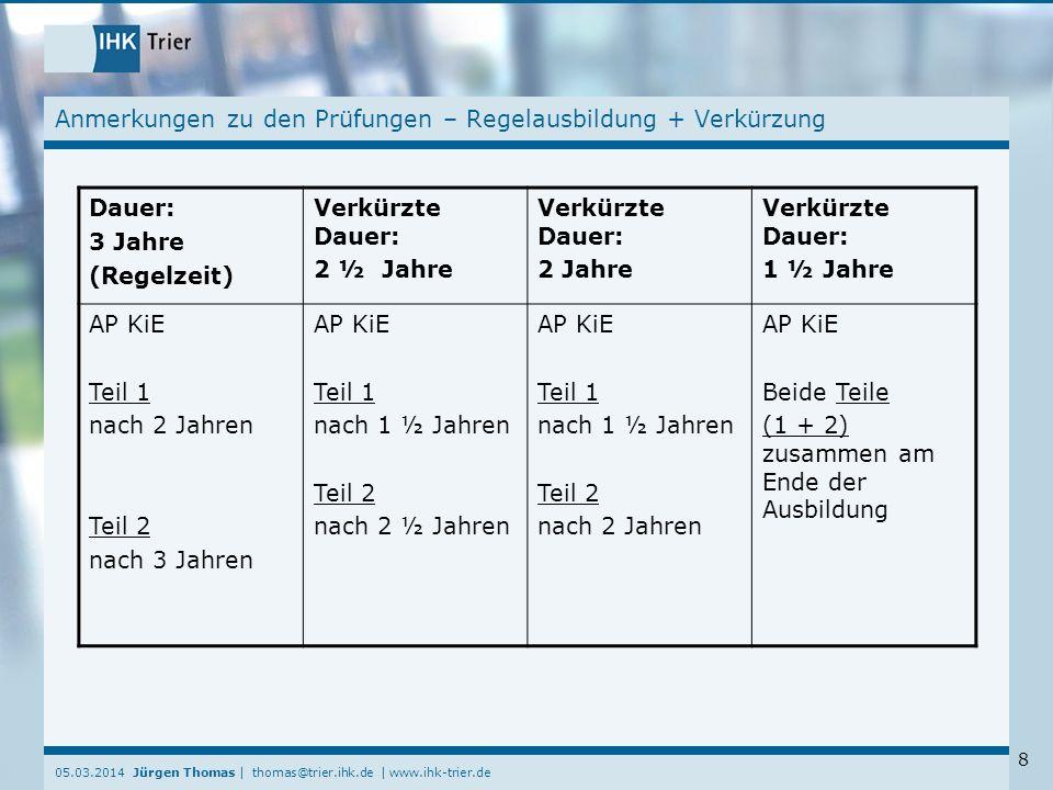 05.03.2014 Jürgen Thomas | thomas@trier.ihk.de | www.ihk-trier.de 8 Anmerkungen zu den Prüfungen – Regelausbildung + Verkürzung Dauer: 3 Jahre (Regelz