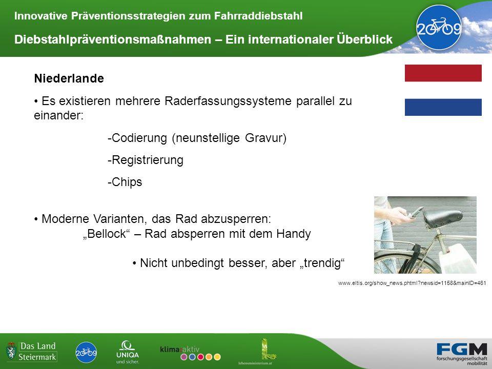 Innovative Präventionsstrategien zum Fahrraddiebstahl Diebstahlpräventionsmaßnahmen – Ein internationaler Überblick Niederlande Es existieren mehrere