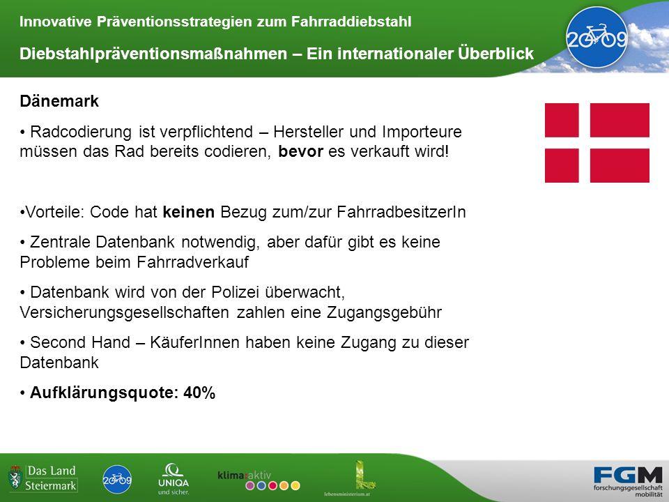 Innovative Präventionsstrategien zum Fahrraddiebstahl Diebstahlpräventionsmaßnahmen – Ein internationaler Überblick Dänemark Radcodierung ist verpflic
