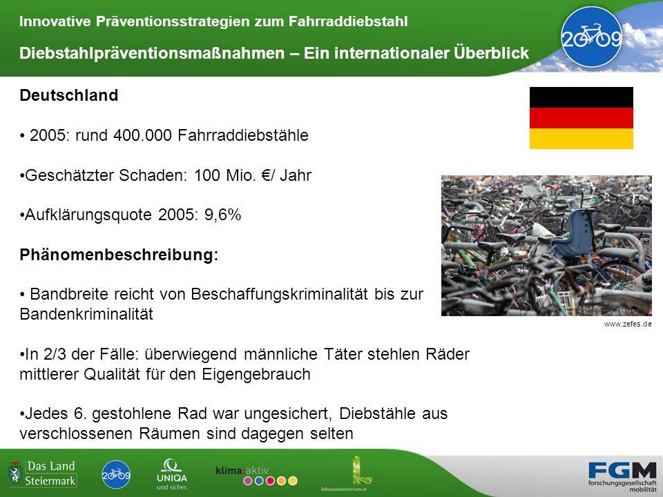 Innovative Präventionsstrategien zum Fahrraddiebstahl Diebstahlpräventionsmaßnahmen – Ein internationaler Überblick Deutschland Fahrradcodierung durch ADFC, Polizei und Händler Code ähnlich dem in Österreich verwendeten System, keine zentrale Datenbank notwendig Umzug erschwert die Nachforschungen Bei Verkauf wird der Code obsolet