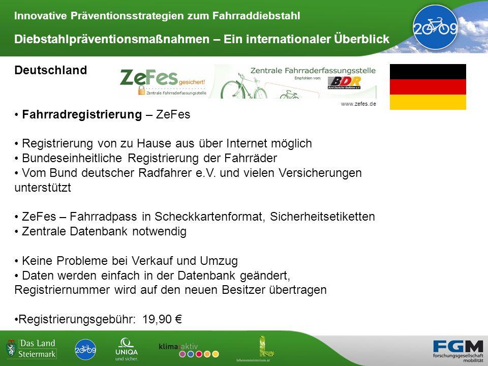 Innovative Präventionsstrategien zum Fahrraddiebstahl Diebstahlpräventionsmaßnahmen – Ein internationaler Überblick Deutschland Fahrradregistrierung –