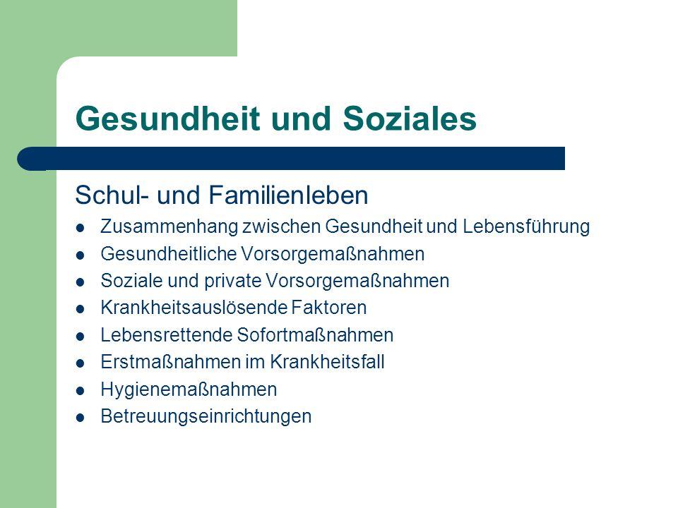 Gesundheit und Soziales Schul- und Familienleben Zusammenhang zwischen Gesundheit und Lebensführung Gesundheitliche Vorsorgemaßnahmen Soziale und priv