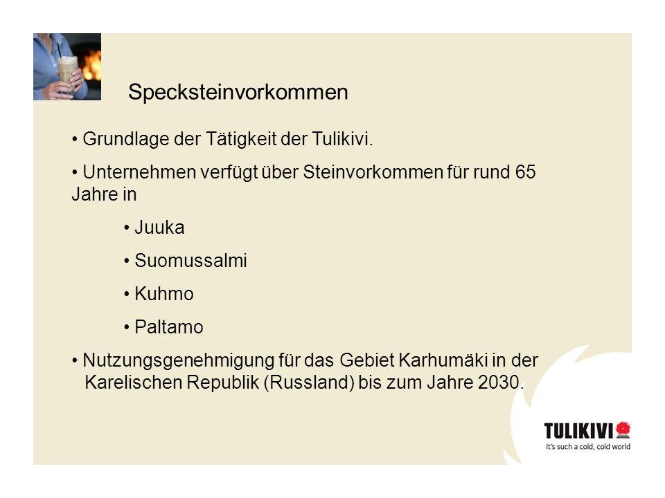 Grundlage der Tätigkeit der Tulikivi. Unternehmen verfügt über Steinvorkommen für rund 65 Jahre in Juuka Suomussalmi Kuhmo Paltamo Nutzungsgenehmigung