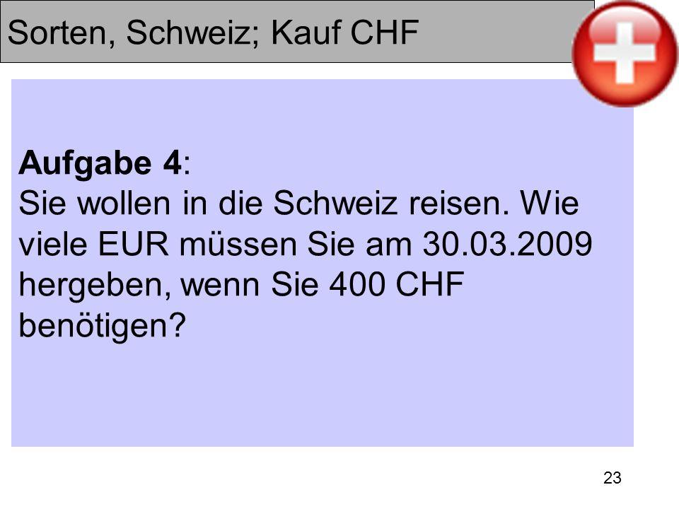 23 Sorten, Schweiz; Kauf CHF Aufgabe 4: Sie wollen in die Schweiz reisen. Wie viele EUR müssen Sie am 30.03.2009 hergeben, wenn Sie 400 CHF benötigen?