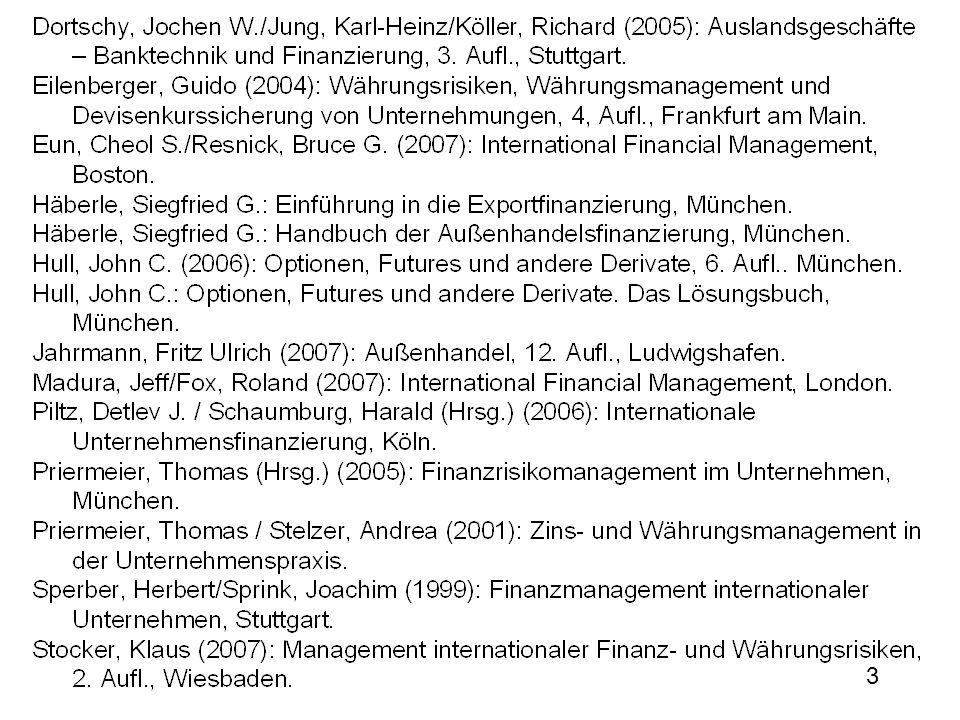 4 Teil I: Einführung Risiken internationaler Unternehmenstätigkeit Geschäftsrisiko Insolvenz, Liquiditätsprobleme Politisches Risiko Zahlungsunfähigkeit des Landes Kapitaltransfer (z.