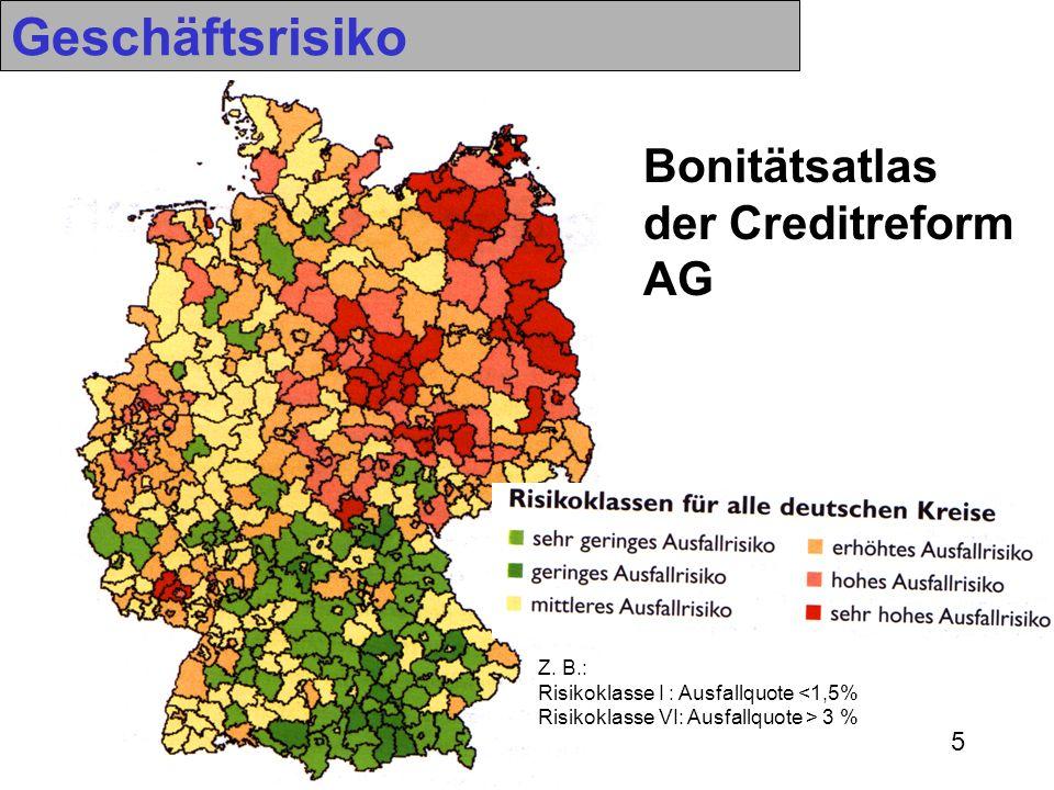 5 Bonitätsatlas der Creditreform AG Z. B.: Risikoklasse I : Ausfallquote <1,5% Risikoklasse VI: Ausfallquote > 3 % Geschäftsrisiko