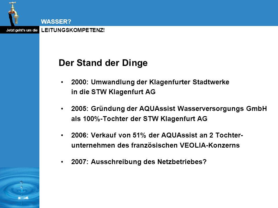 WASSER? Jetzt gehts um die LEITUNGSKOMPETENZ! Der Stand der Dinge 2000: Umwandlung der Klagenfurter Stadtwerke in die STW Klagenfurt AG 2005: Gründung