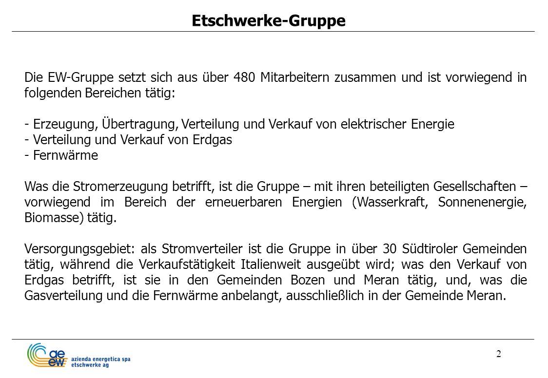 2 Etschwerke-Gruppe Die EW-Gruppe setzt sich aus über 480 Mitarbeitern zusammen und ist vorwiegend in folgenden Bereichen tätig: - Erzeugung, Übertrag