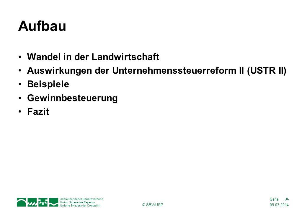 05.03.2014 2Seite Schweizerischer Bauernverband Union Suisse des Paysans Unione Svizzera dei Contadini © SBV/USP Aufbau Wandel in der Landwirtschaft A