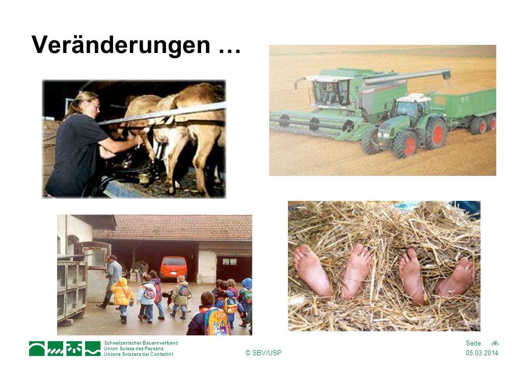 05.03.2014 6Seite Schweizerischer Bauernverband Union Suisse des Paysans Unione Svizzera dei Contadini © SBV/USP Veränderungen …