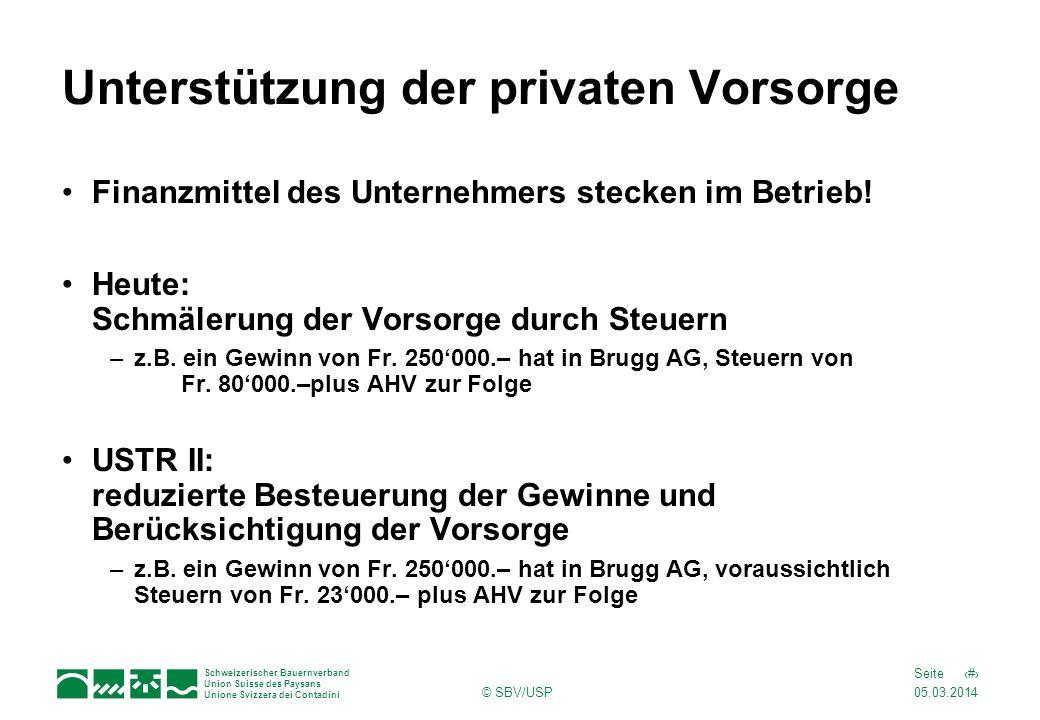 05.03.2014 8Seite Schweizerischer Bauernverband Union Suisse des Paysans Unione Svizzera dei Contadini © SBV/USP Unterstützung der privaten Vorsorge F
