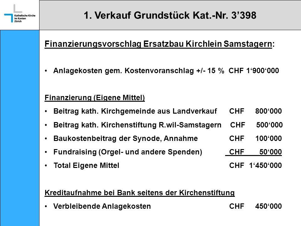 Finanzierungsvorschlag Ersatzbau Kirchlein Samstagern: Anlagekosten gem.