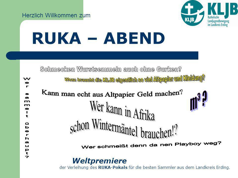 Herzlich Willkommen zum RUKA – ABEND Weltpremiere der Verleihung des RUKA-Pokals für die besten Sammler aus dem Landkreis Erding.
