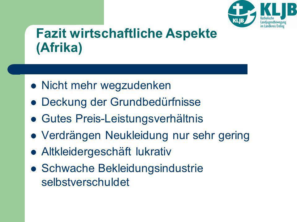 Fazit wirtschaftliche Aspekte (Afrika) Nicht mehr wegzudenken Deckung der Grundbedürfnisse Gutes Preis-Leistungsverhältnis Verdrängen Neukleidung nur