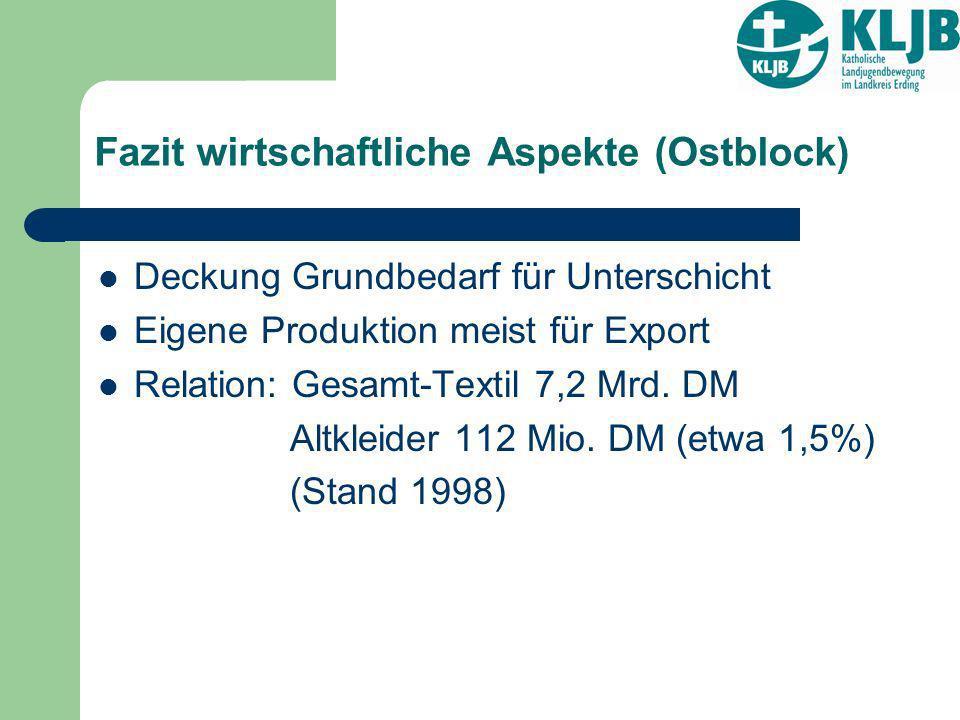 Fazit wirtschaftliche Aspekte (Ostblock) Deckung Grundbedarf für Unterschicht Eigene Produktion meist für Export Relation: Gesamt-Textil 7,2 Mrd. DM A