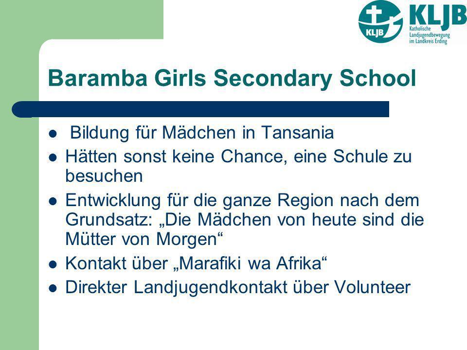 Baramba Girls Secondary School Bildung für Mädchen in Tansania Hätten sonst keine Chance, eine Schule zu besuchen Entwicklung für die ganze Region nac