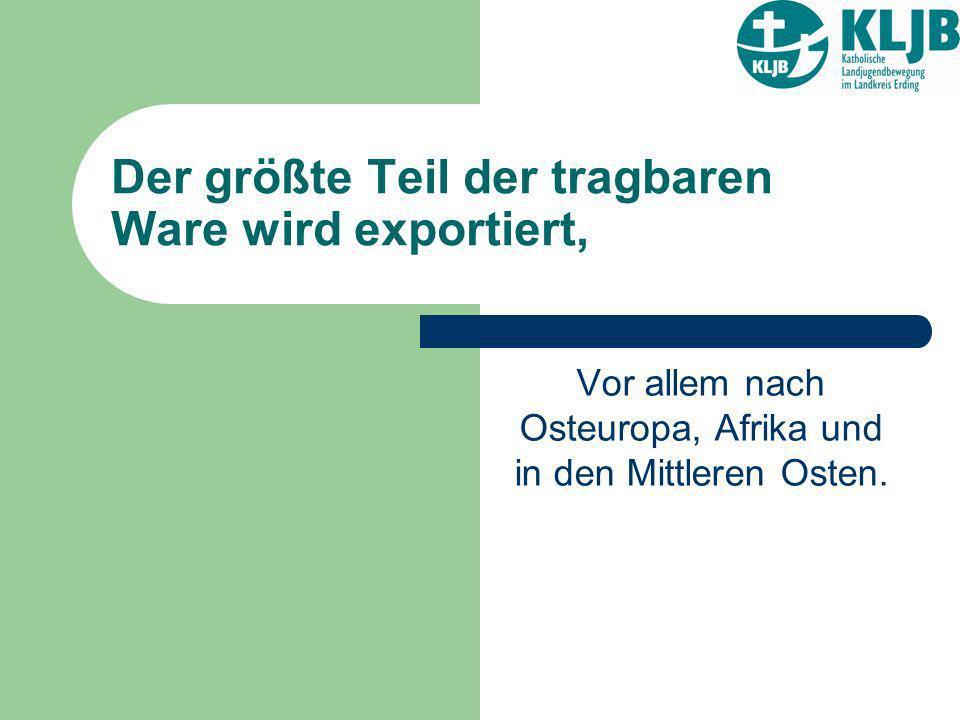 Der größte Teil der tragbaren Ware wird exportiert, Vor allem nach Osteuropa, Afrika und in den Mittleren Osten.