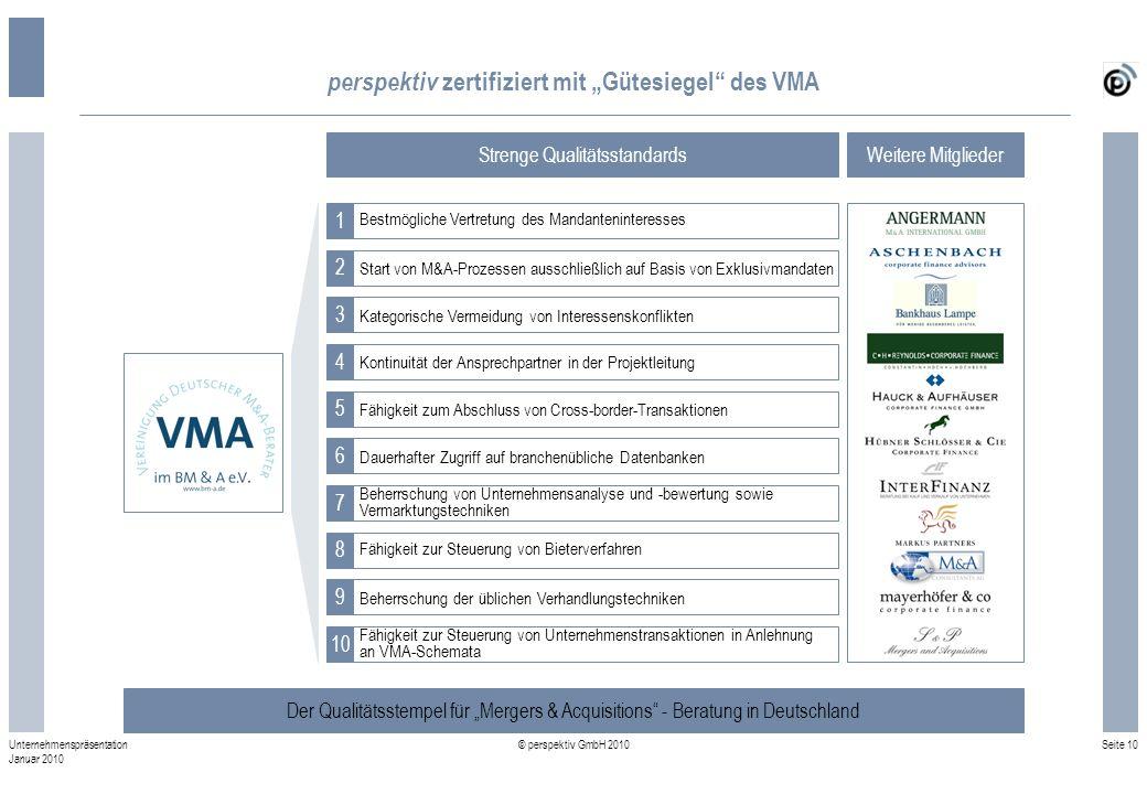 Seite 10 © perspektiv GmbH 2010 Unternehmenspräsentation Januar 2010 perspektiv zertifiziert mit Gütesiegel des VMA Der Qualitätsstempel für Mergers &