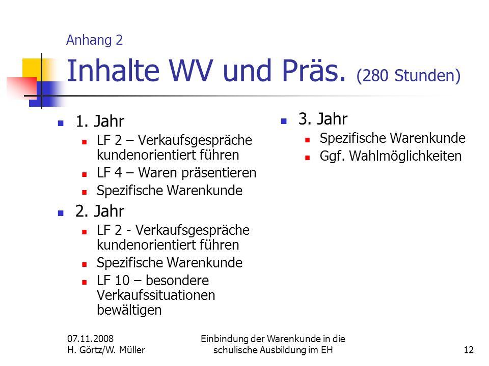 07.11.2008 H. Görtz/W. Müller Einbindung der Warenkunde in die schulische Ausbildung im EH12 Anhang 2 Inhalte WV und Präs. (280 Stunden) 1. Jahr LF 2