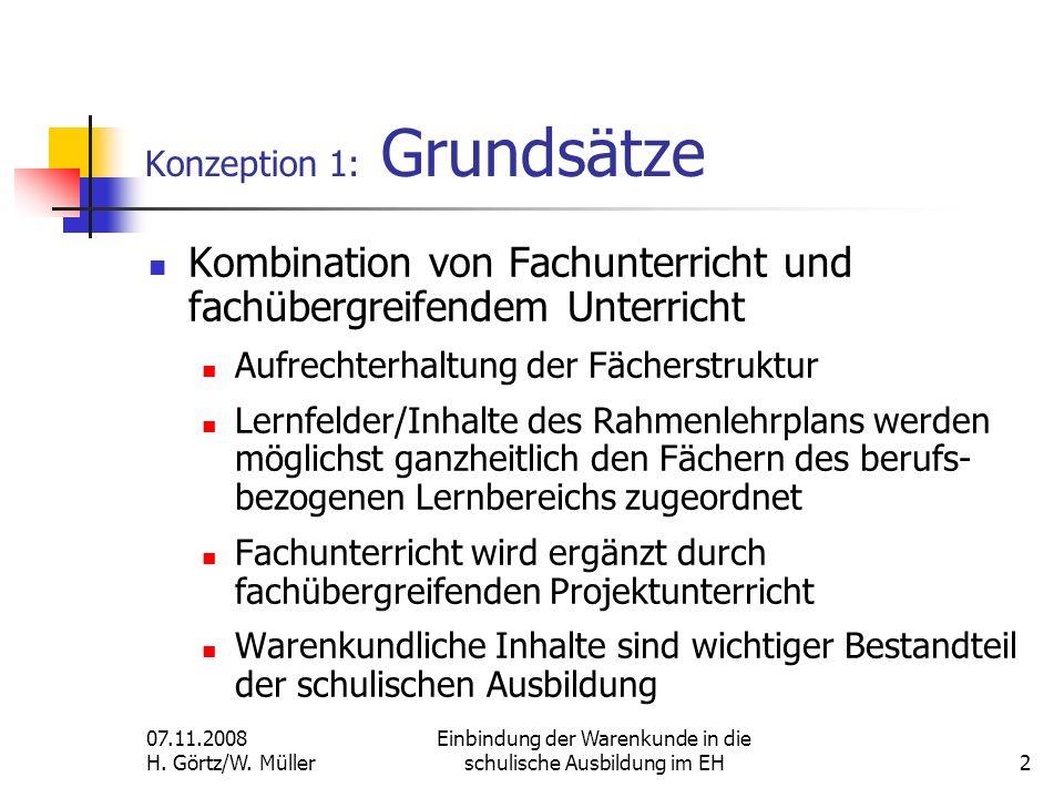 07.11.2008 H. Görtz/W. Müller Einbindung der Warenkunde in die schulische Ausbildung im EH2 Konzeption 1: Grundsätze Kombination von Fachunterricht un
