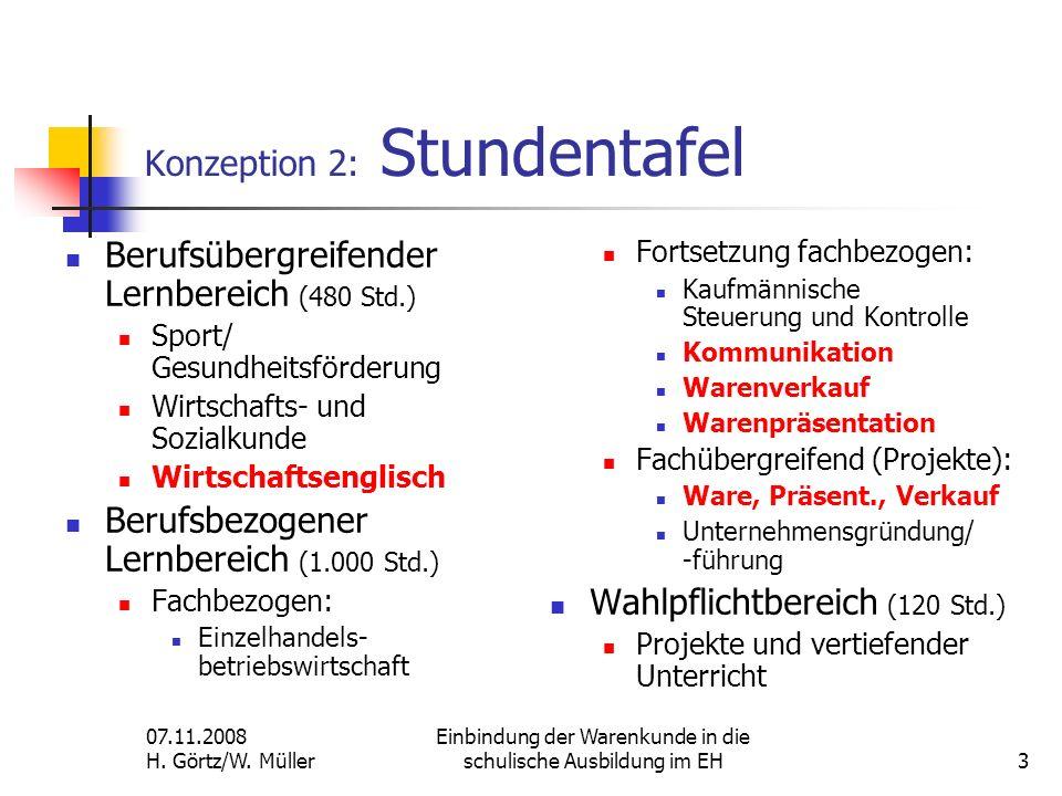 07.11.2008 H. Görtz/W. Müller Einbindung der Warenkunde in die schulische Ausbildung im EH3 Konzeption 2: Stundentafel Berufsübergreifender Lernbereic