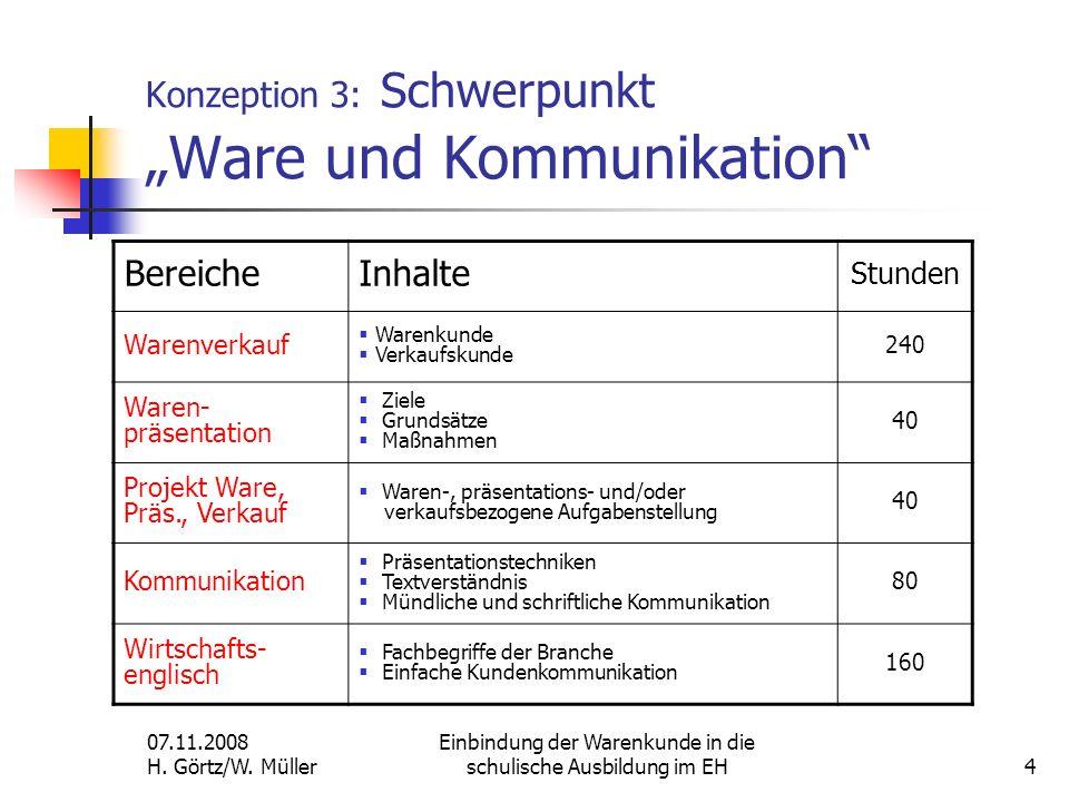 07.11.2008 H. Görtz/W. Müller Einbindung der Warenkunde in die schulische Ausbildung im EH4 Konzeption 3: Schwerpunkt Ware und Kommunikation BereicheI