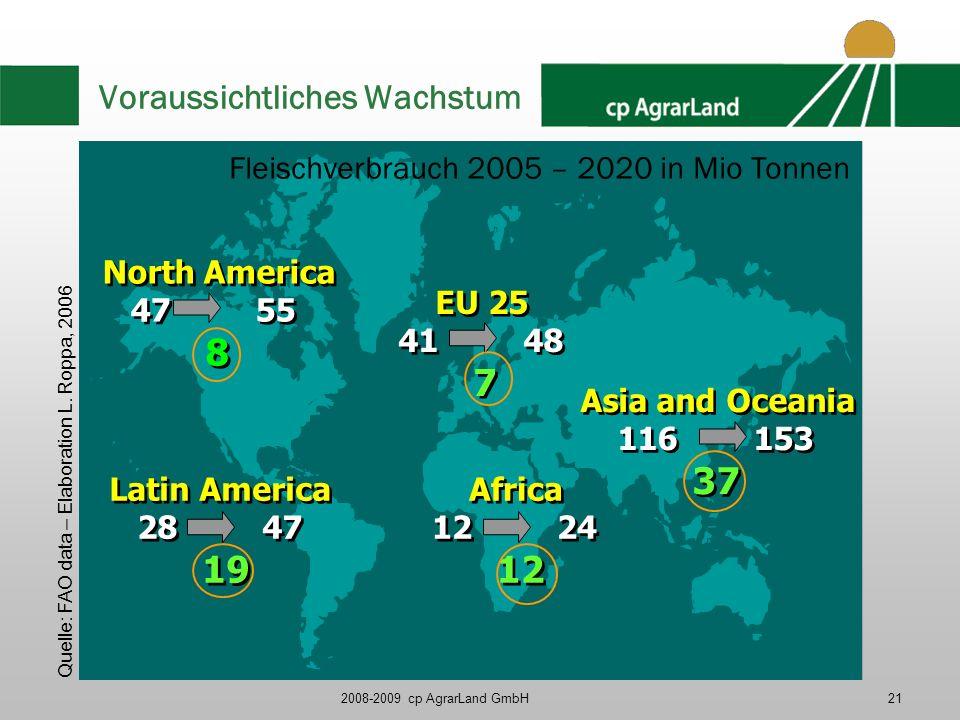 2008-2009 cp AgrarLand GmbH21 Voraussichtliches Wachstum EU 25 41 48 7 EU 25 41 48 7 Asia and Oceania 116 153 37 Asia and Oceania 116 153 37 Latin Ame