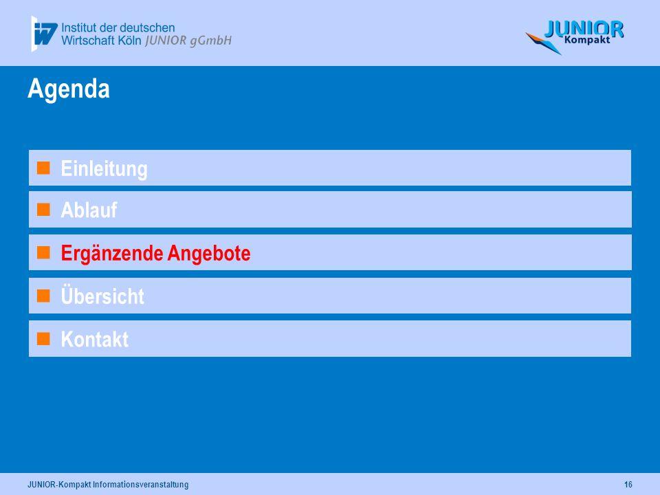 JUNIOR-Kompakt Informationsveranstaltung16 Ergänzende Angebote Ablauf Agenda Kontakt Einleitung Übersicht