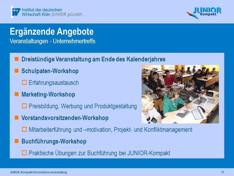 JUNIOR-Kompakt Informationsveranstaltung17 Dreistündige Veranstaltung am Ende des Kalenderjahres Schulpaten-Workshop Erfahrungsaustausch Marketing-Wor