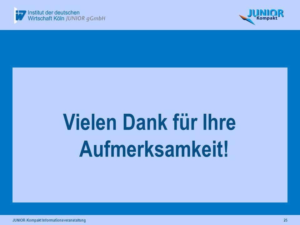 JUNIOR-Kompakt Informationsveranstaltung25 Vielen Dank für Ihre Aufmerksamkeit!