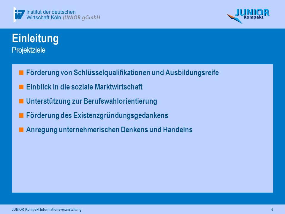 JUNIOR-Kompakt Informationsveranstaltung6 Einleitung Projektziele Förderung von Schlüsselqualifikationen und Ausbildungsreife Einblick in die soziale